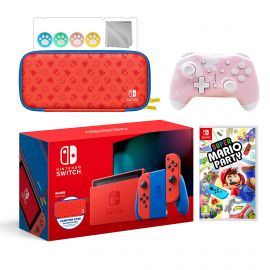 2021 New Nintendo Switch Mario Red & Blue Limited Edition with Mario Iconography Carrying Case Bundle With Super Mario Party And Mytrix Wireless Pro Controller and Accessories