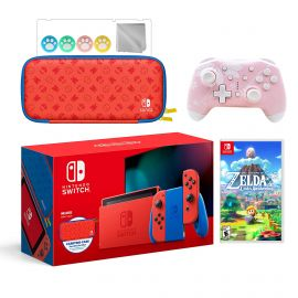 2021 New Nintendo Switch Mario Red & Blue Limited Edition with Mario Iconography Carrying Case Bundle With The Legend of Zelda Link's Awakening And Mytrix Wireless Pro Controller and Accessories