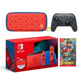 2021 New Nintendo Switch Mario Red & Blue Limited Edition - With Pro Controller, Super Mario Odyssey Game, Mario Iconography Carrying Case and Screen Protector
