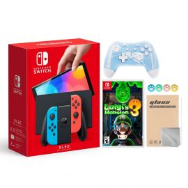 2021 New Nintendo Switch OLED Model Neon Red & Blue Joy Con 64GB Console HD Screen & LAN-Port Dock with Luigi's Mansion 3 And Mytrix Wireless Switch Pro Controller and Accessories