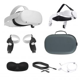 2021 Oculus Quest 2 All-In-One VR Headset, Touch Controllers, 256GB SSD, Glasses Compatible, 3D Audio, Mytrix Head Strap, Carrying Case, Earphone, Link Cable (3M), Grip Cover, Lens Cover