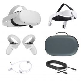 2021 Oculus Quest 2 All-In-One VR Headset, Touch Controllers, 256GB SSD, 1832x1920 up to 90 Hz Refresh Rate LCD, 3D Audio, Mytrix Head Strap, Carrying Case, Earphone, Link Cable (3M)