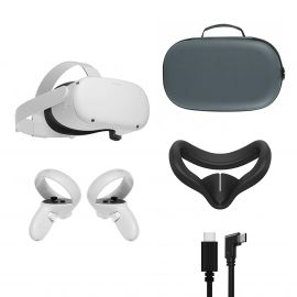 2021 Oculus Quest 2 All-In-One VR Headset 128GB, Touch Controllers, 1832x1920 up to 90 Hz Refresh Rate LCD, 3D Audio, Mytrix Carrying Case, Link Cable (3M), Silicone Face Cover