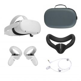 2021 Oculus Quest 2 All-In-One VR Headset 128GB, Touch Controllers, 1832x1920 up to 90 Hz Refresh Rate LCD, Glasses Compatible, 3D Audio, Mytrix Carrying Case, Earphone, Silicone Face Cover