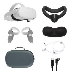 2021 Oculus Quest 2 All-In-One VR Headset 128GB, Touch Controllers, 1832x1920 up to 90 Hz Refresh Rate LCD, Mytrix Carrying Case, Earphone, Link Cable, Gray Grip Cover, Lens Cover, Silicone Face Cover