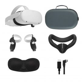 2021 Oculus Quest 2 All-In-One VR Headset 128GB, Touch Controllers, Glasses Compatible, 3D Audio, Mytrix Carrying Case, Link Cable (3M), Black Grip Cover, Lens Cover, Silicone Face Cover