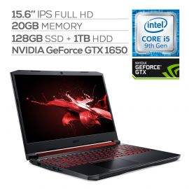 "Acer Nitro 5 Gaming Laptop, 15.6"" IPS FHD, GTX 1650, Core i5-9300H, 20GB RAM, 128GB SSD+1TB HDD, Backlit"