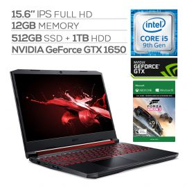 "Acer Nitro 5 Gaming Laptop, 15.6"" IPS Full HD, GTX 1650, Core i5-9300H up to 4.10 GHz, 12GB RAM, 512GB SSD+1TB HDD, Backlit, RJ-45 Ethernet, BT 5.0, USB-C, Win 10 w/ Forza Horizon 3"