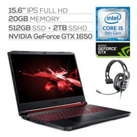 "Acer Nitro 5 Gaming Laptop, 15.6"" IPS Full HD, GTX 1650, Core i5-9300H up to 4.10 GHz, 20GB RAM, 512GB SSD+2TB SSHD, Backlit, RJ-45 Ethernet, BT 5.0, USB-C, Win 10 w/ Pro Gaming Headset"