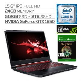 """Acer Nitro 5 Gaming Laptop, 15.6"""" IPS Full HD, GTX 1650, Core i5-9300H up to 4.10 GHz, 24GB RAM, 512GB SSD+2TB SSHD, Backlit, RJ-45 Ethernet, BT 5.0, USB-C, Win 10 w/ Sea Of Thieves"""