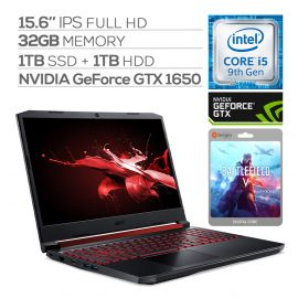 "Acer Nitro 5 Gaming Laptop, 15.6"" IPS Full HD, GTX 1650, Core i5-9300H up to 4.10 GHz, 32GB RAM, 1TB SSD+1TB HDD, Backlit, RJ-45 Ethernet, BT 5.0, USB-C, Win 10 w/ Battlefield V"