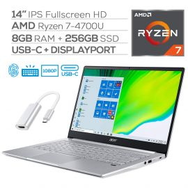 "Acer Swift 3 Narrow Bezel Laptop, 14"" IPS Full HD, Ryzen 7 4700U 8-Core up to 4.10 GHz (beats i7-1065G7), 8GB RAM, 256GB SSD, USB-C/DP, Wi-Fi 6, FP Reader, Backlit KB, Myrtix HDMI Adapter, Win 10"