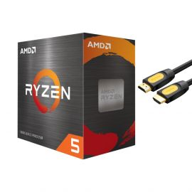 AMD-Ryzen 5 5600X 4th Gen 6-core Desktop Processor with Wraith Stealth Cooler, 12-threads Unlocked, 3.7 GHz Up to 4.6 GHz, Socket AM4, Zen 3 Core Architecture, StoreMI Technology w/ Mytrix HDMI Cable