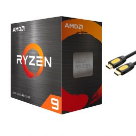 AMD-Ryzen 9 5950X 4th Gen 16-core Desktop Processor Without Cooler, 32-threads Unlocked, 3.4 GHz Up to 4.9 GHz, Socket AM4, Zen 3 Core Architecture, StoreMI Technology w/ Mytrix HDMI Cable