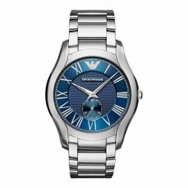 Armani AR11085 Mens Gents Watch Silver Stainless Steel Strap Blue Dial