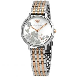 Armani AR11113 Silver and Rose Gold Tone Sunray 32mm Dial Ladies Watch