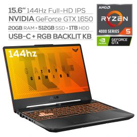 "ASUS TUF Gaming 144Hz Laptop, 15.6"" FHD IPS-Type, AMD Ryzen 5 4600H Hexa-Core up to 4.0 GHz, NVIDIA GTX 1650, 20GB RAM, 512GB SSD+1TB HDD, RGB Backlit KB, RJ-45 Ethernet, Win 10"