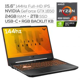 "ASUS TUF Gaming 144Hz Laptop, 15.6"" FHD IPS-Type, AMD Ryzen 5 4600H Hexa-Core up to 4.0 GHz, NVIDIA GTX 1650, 24GB RAM, 2TB SSD, RGB Backlit KB, RJ-45 Ethernet, Win 10"