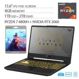 "ASUS TUF VR Ready Gaming Laptop, 15.6"" IPS FHD, AMD Ryzen 7-4800H, RTX 2060, 8GB RAM, 1TB SSD+2TB SSHD, RGB Backlit KB, Battlefield V"