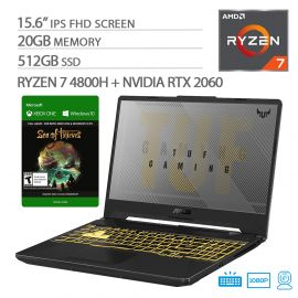 """ASUS TUF VR Ready Gaming Laptop, 15.6"""" IPS FHD, AMD Ryzen 7-4800H Octa-Core up to 4.20 GHz, NVIDIA RTX 2060, 20GB RAM, 512GB SSD, RGB Backlit KB, RJ-45 Ethernet, Sea of Thieves, Win 10"""
