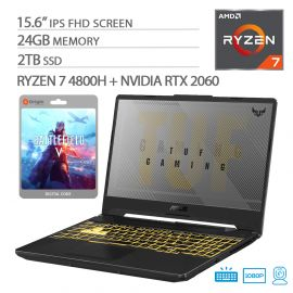"ASUS TUF VR Ready Gaming Laptop, 15.6"" IPS FHD, AMD Ryzen 7-4800H Octa-Core up to 4.20 GHz, NVIDIA RTX 2060, 24GB RAM, 2TB SSD, RGB Backlit KB, RJ-45 Ethernet, Battlefield V, Win 10"