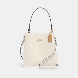 COACH 1011 SMALL TOWN BUCKET LEATHER BAG IN CHALK LIGHT SADDLE