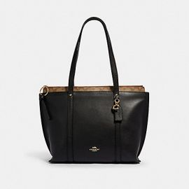 COACH 1575 MAY TOTE WITH SIGNATURE CANVAS BLACK KHAKI