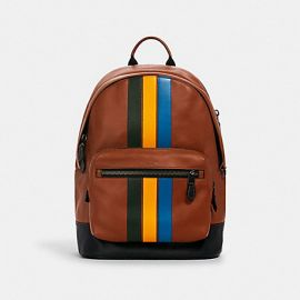 COACH 1973 WEST LEATHER BACKPACK WITH VARSITY STRIPE REDWOOD/CLOVER/TUMERIC/BLUE