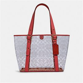 COACH 2564 SMALL FERRY TOTE IN SIGNATURE CLEAR CANVAS CLEAR/ PINK LEMONADE