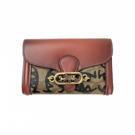 COACH 2878 JADE MEDIUM ENVELOPE WALLET IN SIGNATURE CANVAS WITH REXY BY GUANG YU KHAKI MULTI
