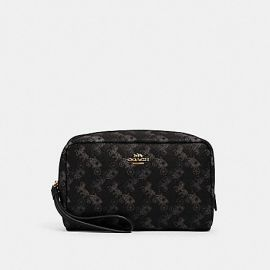 COACH 528 BOXY COSMETIC CASE WITH HORSE AND CARRIAGE PRINT BLACK GREY MULTI