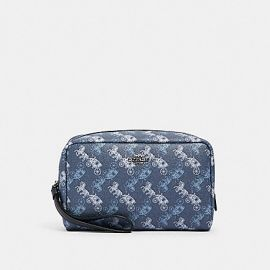 COACH 528 BOXY COSMETIC CASE WITH HORSE AND CARRIAGE PRINT Indogo Pale Blue Multi