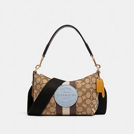 COACH 5483 DEMPSEY SHOULDER BAG IN SIGNATURE JACQUARD WITH STRIPE AND PATCH IN KHAKI/MIST MULTI