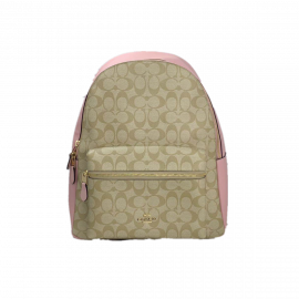 COACH 58314 CHARLIE LARGE BACKPACK IN SIGNATURE CANVAS IN LIGHT KHAKI BLOSSOM