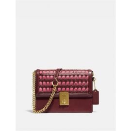 Coach 613 Hutton Shoulder Bag With Weaving In Wine Multi