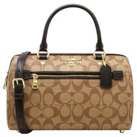 Coach 83607 Rowan Satchel In Signature Canvas Cross Body Bag Khaki/Black/Gold