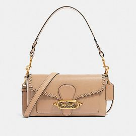 COACH 91025 SMALL JADE LEATHER SHOULDER BAG WITH WHIPSTITCH IN TAUPE