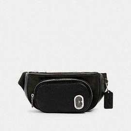 Coach 91066 Nylon Leather Mix Court Belt Cross Body Bag SV/BLACK