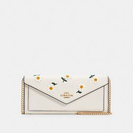 COACH C2888 SLIM ENVELOPE WALLET WITH CHAIN WITH DAISY EMBROIDERY IN CHALK MULTI