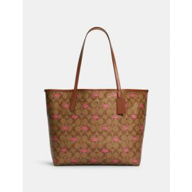 Coach C3247 City Tote In Signature Canvas With Lips Print Khaki Pink Multi/Redwood