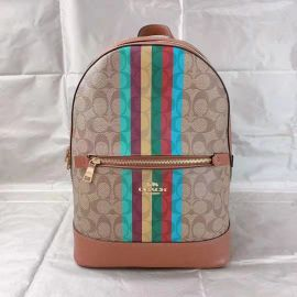 Coach C5795 Kenley Backpack In Signature Canvas With Stripe In Khaki Multi