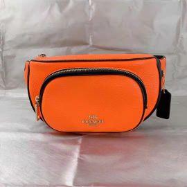 Coach C6077 Court Belt Bag In Colorblock Pebble Leather Fluorescent Orange