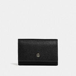 COACH F73992 FIVE RING KEY CASE Crossgrain Leather Wallet Black