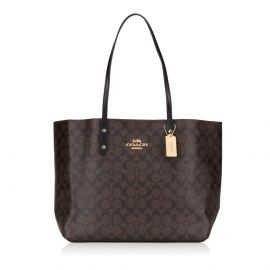 Coach F76636 Town Tote Shoulder Bag in Signature Canvas Brown Black