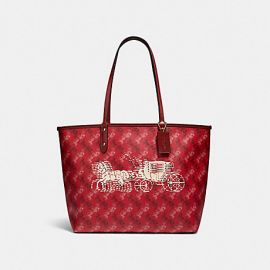 COACH F82135 REVERSIBLE CITY TOTE WITH HORSE AND CARRIAGE PRINT IN BRIGHT RED/CHERRY MULTI