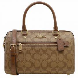 Coach F83607 Rowan Satchel in Signature Handbag Purse Khaki/saddle 2