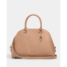 Coach Purse 2553 Katy Satchel Handbag Crossgrain Leather In Taupe