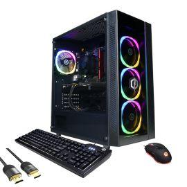 CyberPowerPC Gamer Master 3060 Gaming Desktop, AMD Ryzen 5 5600X Hexa-Core, GeForce RTX 3060 12GB, 16GB RAM, 2TB PCIe SSD+2TB HDD, HDMI/DP, Wi-Fi, RJ-45, RGB, Mytrix HDMI 2.1 Cable, Win 10