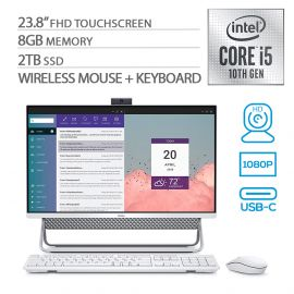 """Dell Inspiron All in One 5490 23.8"""" FHD Touchscreen AIO PC, 10th Gen Core i5 Quad-Core up to 4.20 GHz, 8GB RAM, 2TB SSD, WebCam, RJ-45 Ethernet/Wi-Fi/BT, HDMI, USB-C, Speaker, Win 10 (Renewed)"""