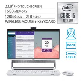 "Dell Inspiron All in One 5490 23.8"" FHD Touchscreen AIO PC, 10th Gen Core i5 up to 4.20 GHz, 16GB RAM, 128GB SSD+2TB SSHD, WebCam, RJ-45 Ethernet/Wi-Fi/BT, HDMI, USB-C, Speaker, Win 10 (Renewed)"